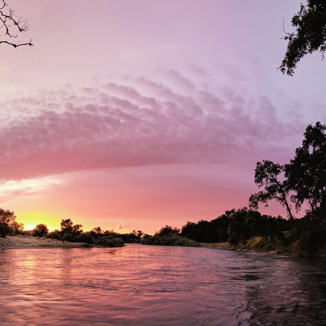 """Sunset Panoramic of the Feather River in Butte County Californai"" stock image"