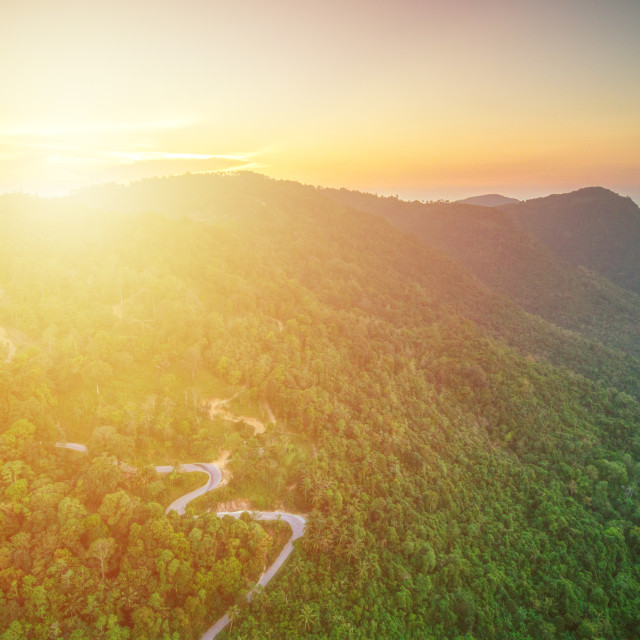 """Aerial view of curvy mountain road through a jungle ay sunset"" stock image"