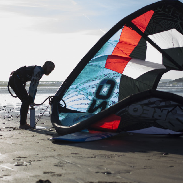 """Kitesurfer at Newgale"" stock image"