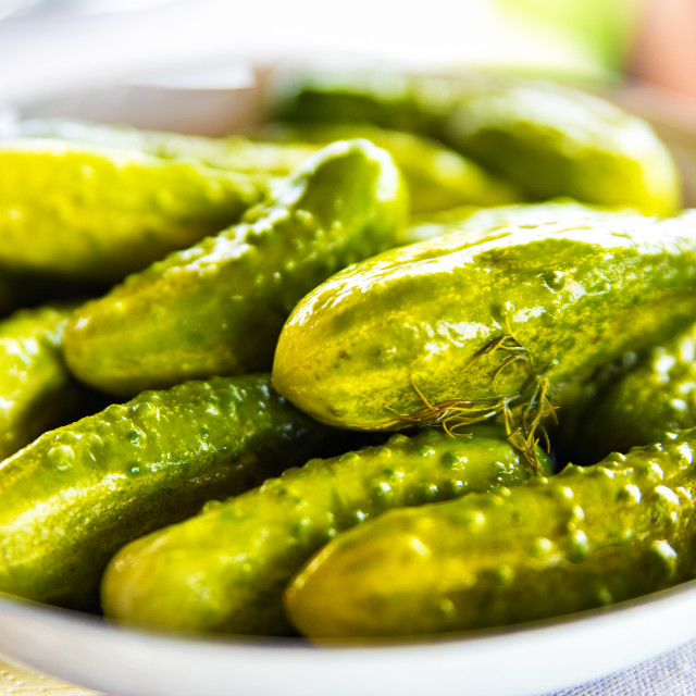 """""""Pickled cucumbers with herbs and spices on white plate"""" stock image"""