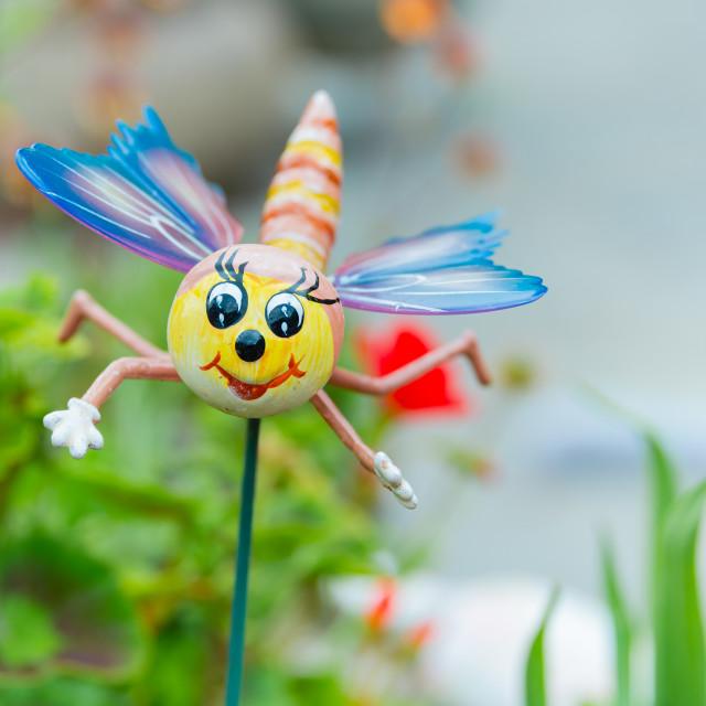 """A novelty dragonfly garden ornament"" stock image"