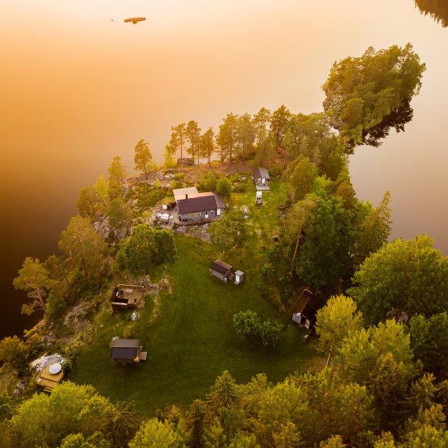 """""""Cabin by forest lake"""" stock image"""