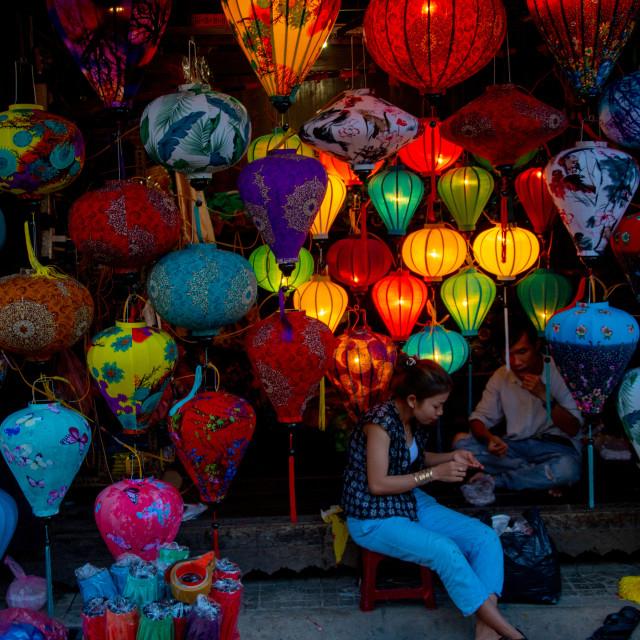 """""""Asian lanterns shop"""" stock image"""