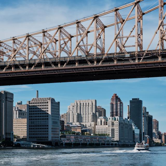 """Upper East Side Manhattan and Ed Koch Queensboro Bridge on sunny"" stock image"