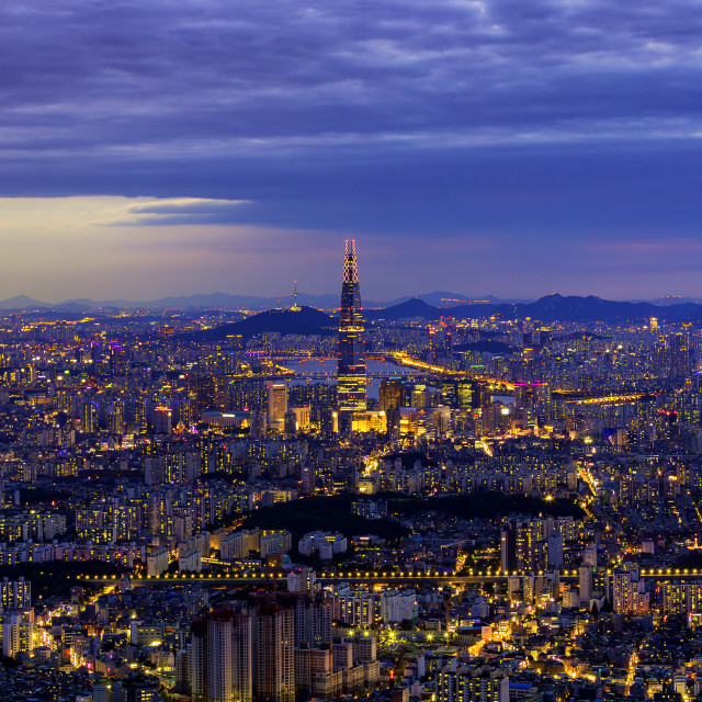 """""""Seoul,South Korea-June 10,2019:Night cityscape of Seoul downtown ,Hangang river;Seoul tower,and Lotte tower best landmark in Seoul,South Korea Viewpoint from Namhansanseong mountain"""" stock image"""