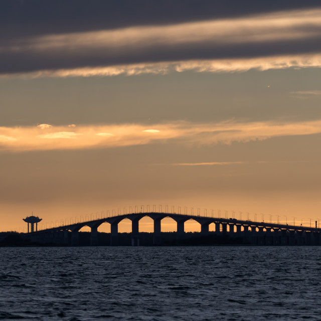 """""""Sunset by the Oland bridge in Sweden"""" stock image"""