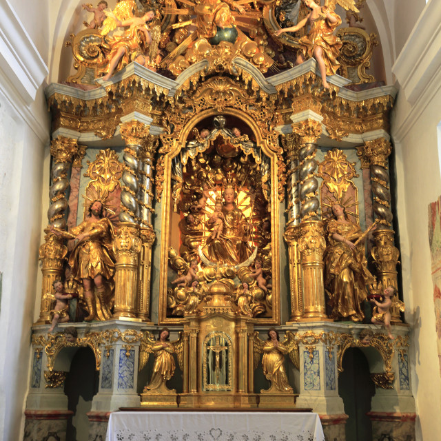 """""""The alter inside the Pilgrimage Church of the Assumption of Maria, Lake Bled..."""" stock image"""