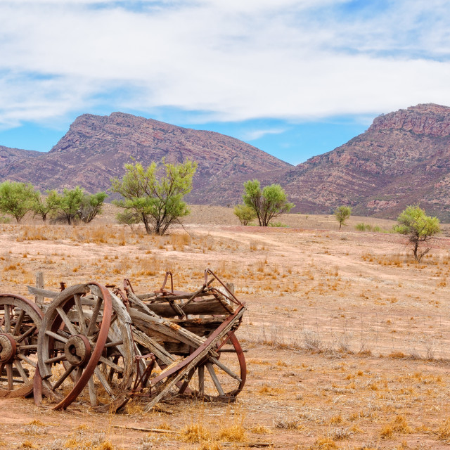"""Wagon at Old Wilpena Station - Wilpena Pound"" stock image"
