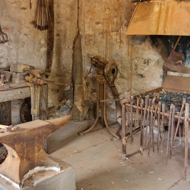 """Blacksmith at Old Wilpena Station - Wilpena Pound"" stock image"