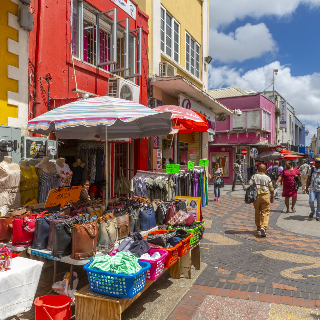 """""""Colourful stalls and shops on Swan Street, Bridgetown, Barbados, West Indies,..."""" stock image"""