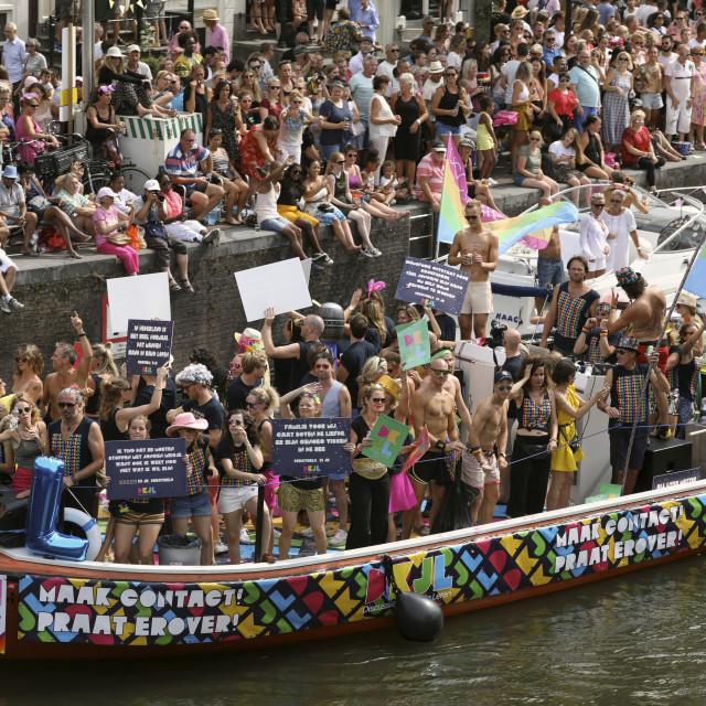 """Boat at Gay pride parade, Canal parade in Amsterdam, Netherlands."" stock image"