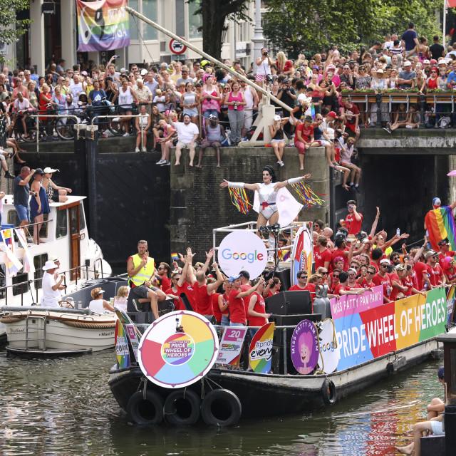 """Google boat at Gay pride parade, Canal parade in Amsterdam, Netherlands."" stock image"