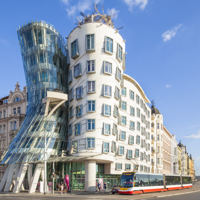 """""""Prague Dancing House or Ginger and Fred, Tančící dům, by Frank Gehry and..."""" stock image"""