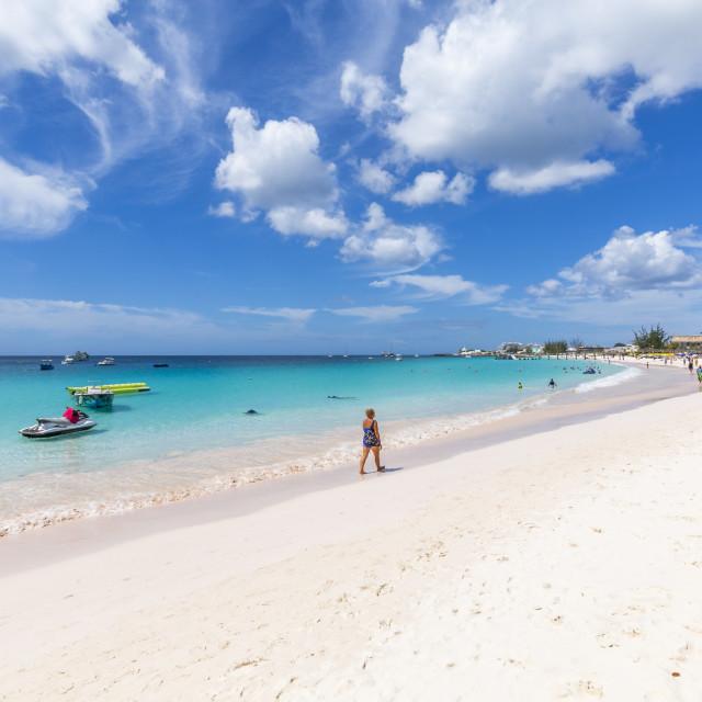 """View of Carlisle Beach, Bridgetown, Barbados, West Indies, Caribbean, Central..."" stock image"