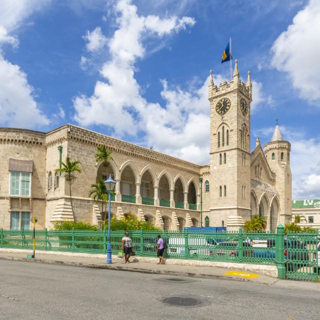 """View of Parliament Building, Bridgetown, Barbados, West Indies, Caribbean,..."" stock image"