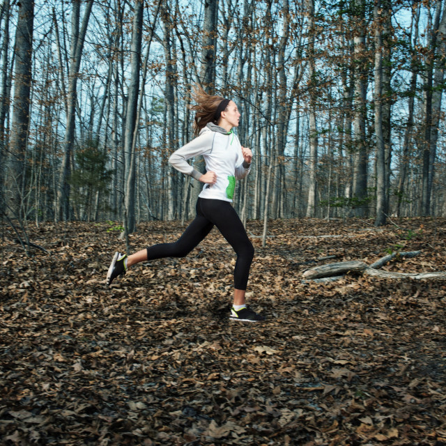 """""""Dedicated woman jogging in forest"""" stock image"""