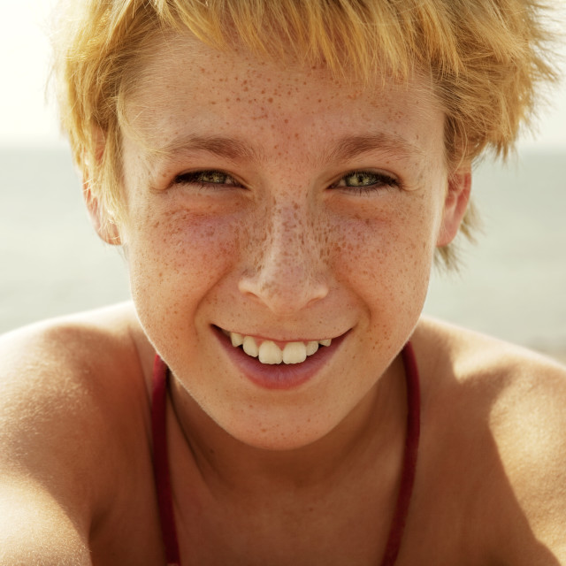 """Portrait of Boy at the Beach"" stock image"