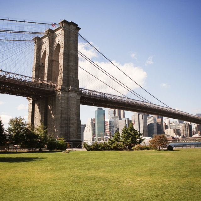 """Brooklyn Bridge Park against sky"" stock image"