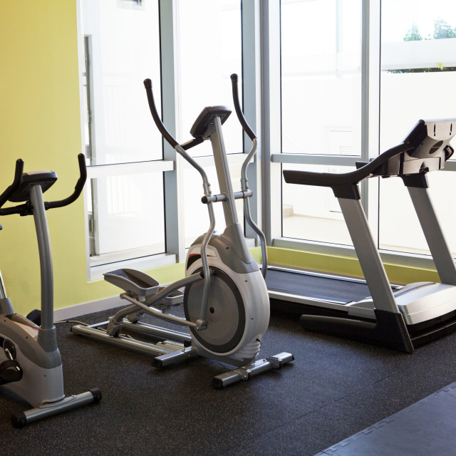 """""""Exercise machines in gym"""" stock image"""