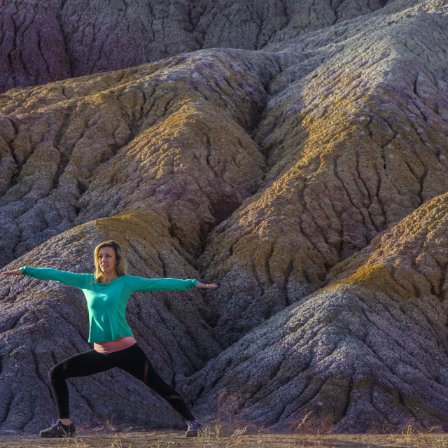 """""""Yoga At Clay Beds"""" stock image"""