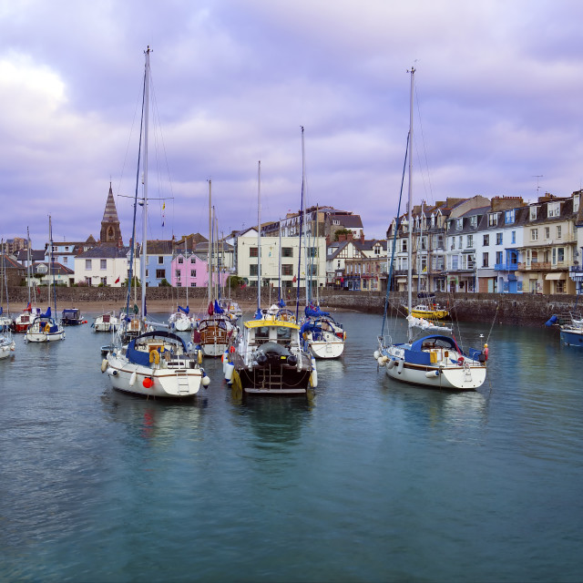 """Ilfracombe Harbour in early morning, North Devon, England, UK"" stock image"