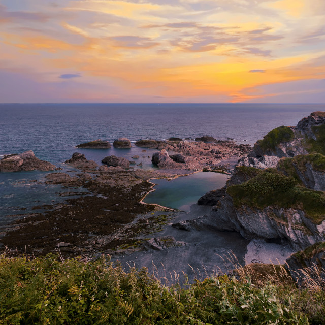 """Tunnels Beaches in Ilfracombe at sunrise, North Devon, England, UK"" stock image"