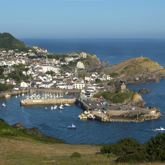 """Ilfracombe from Hillsborough hill, North Devon, England, UK"" stock image"