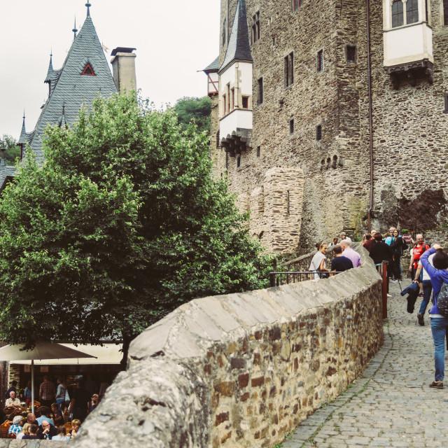 """Tourists at Burg Eltz"" stock image"