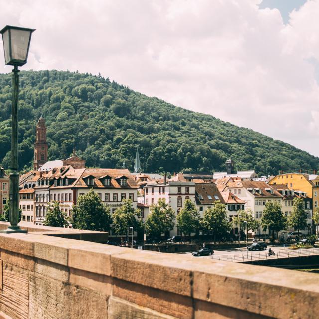 """Old Bridge Overlooking Old Town Heidelberg"" stock image"
