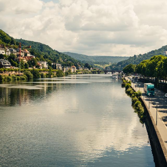 """""""River Neckar Heidelberg"""" stock image"""