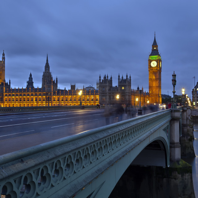 """Parliament of London at dusk, England, UK"" stock image"