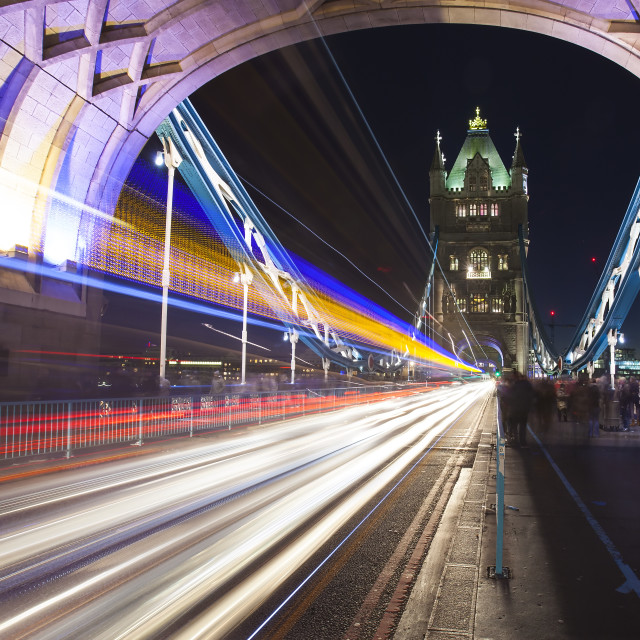 """Tower Bridge at night, London, England, UK"" stock image"