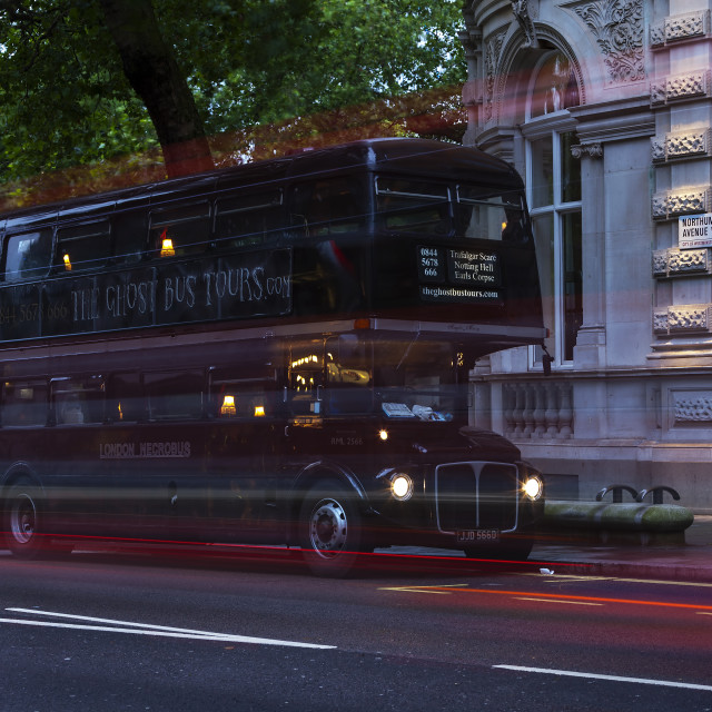 """The Ghost Bus Tours in London, England, UK"" stock image"