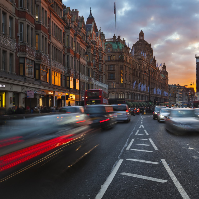"""Brompton Road Traffic in London, England, UK"" stock image"
