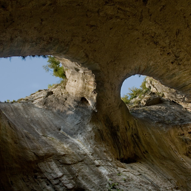 """The Eyes of God, Prohodna Cave, Bulgaria"" stock image"
