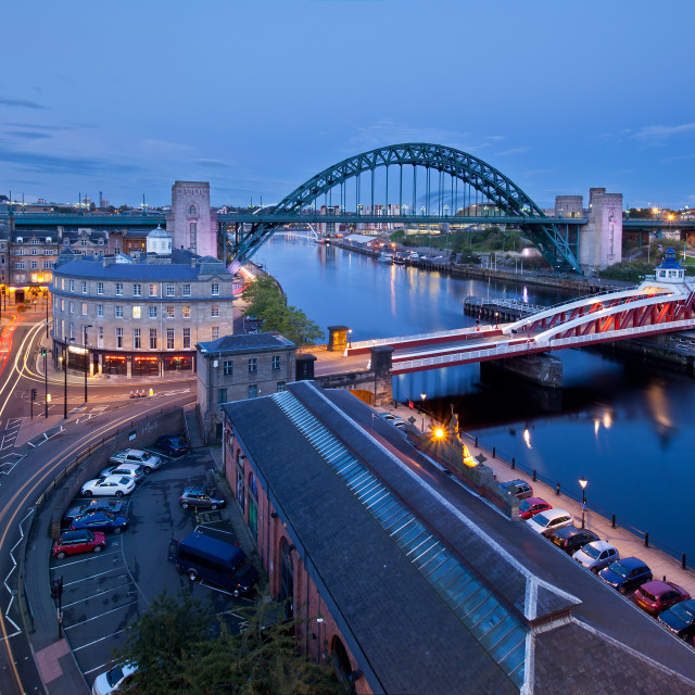 """Newcastle at night, England, UK"" stock image"