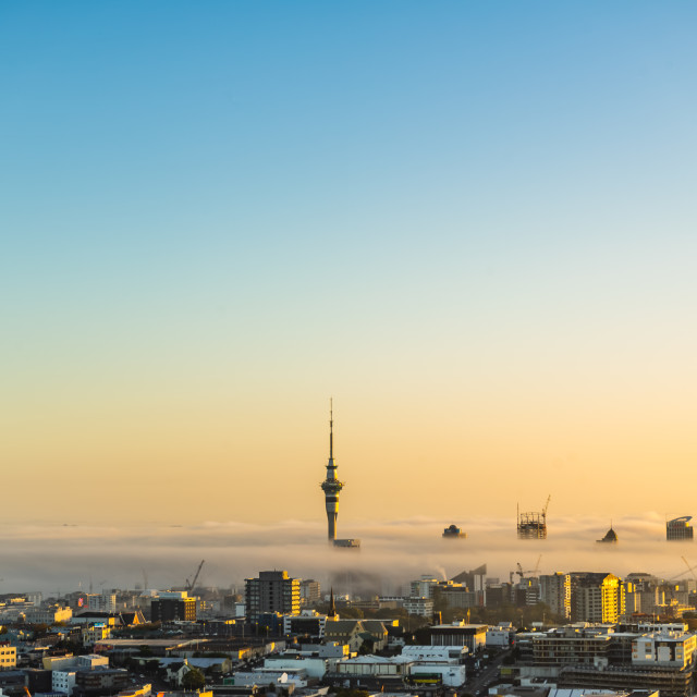 """""""Auckland on a foggy day"""" stock image"""
