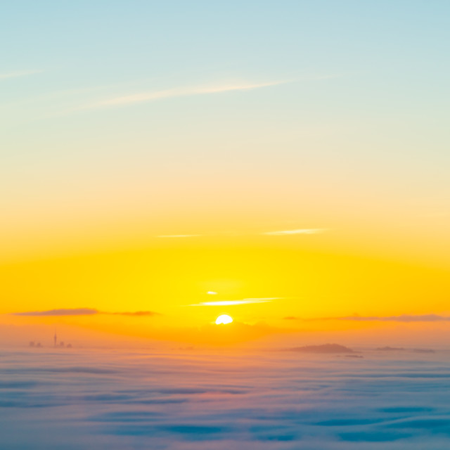 """""""Sunrise in the clouds"""" stock image"""