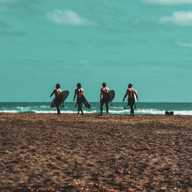 """Four Surfers at Bethels Beach"" stock image"