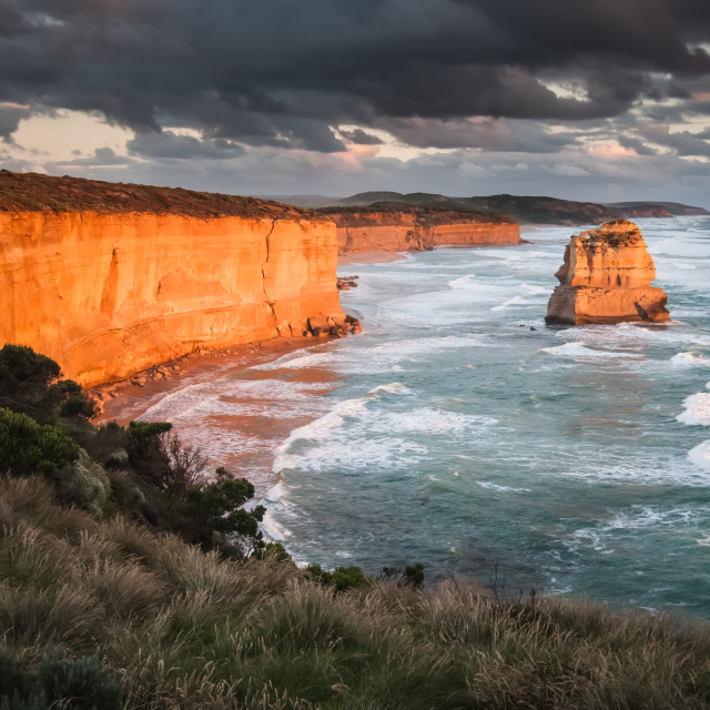 """""""View to the west from the The Apostles lookout, Victoria, Austra"""" stock image"""