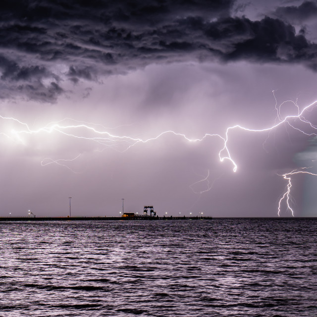 """Lightning over the Bay"" stock image"
