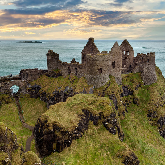 """Dunluce Castle in Bushmills, Northern Ireland, UK"" stock image"