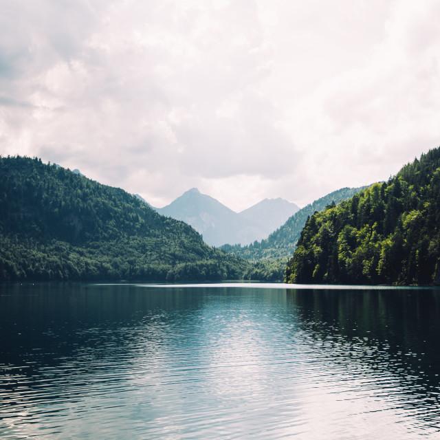 """""""Blue Dark Mountain Lake"""" stock image"""