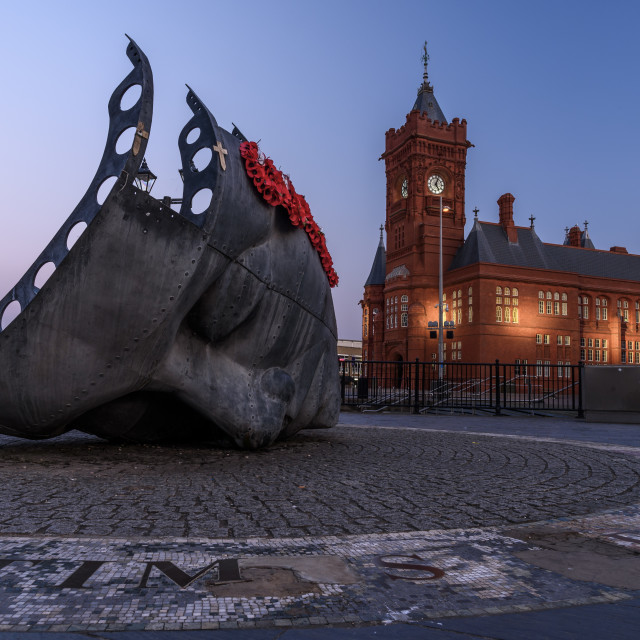 """""""Cardiff Bay at dusk"""" stock image"""