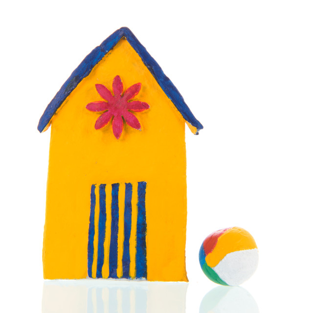 """""""Colorful hand made beach cabin with ball"""" stock image"""