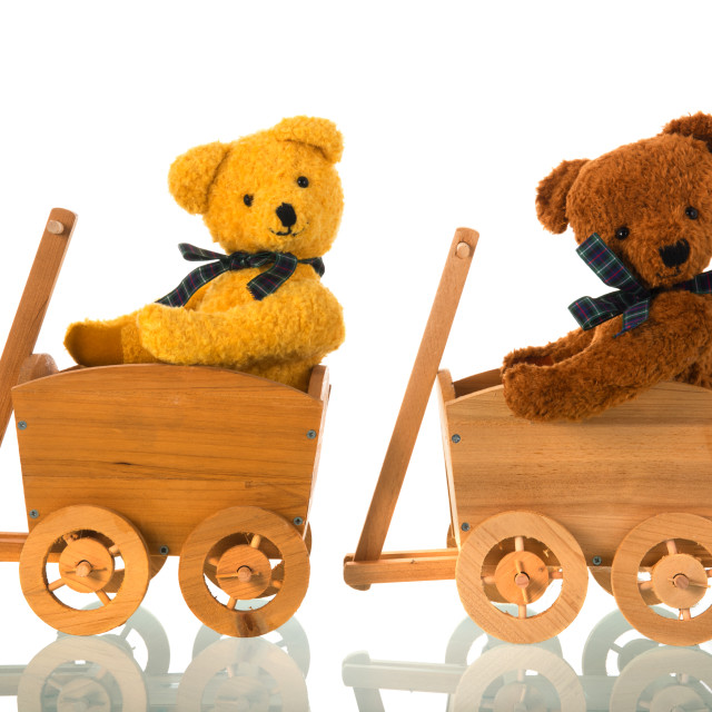 """""""Stuffed toys bears in wooden cart"""" stock image"""
