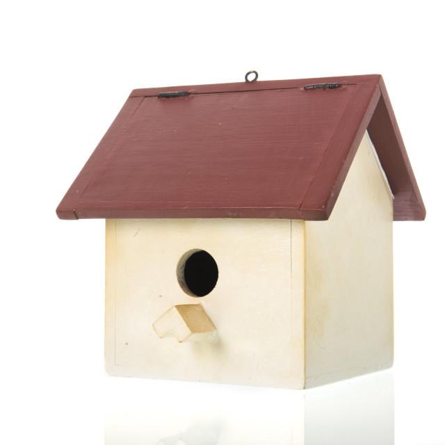 """Bird house isolated over white background"" stock image"