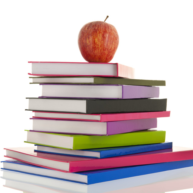 """""""Books for school with apple"""" stock image"""