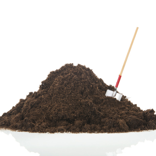 """""""Black heap earth with shovel isolated"""" stock image"""
