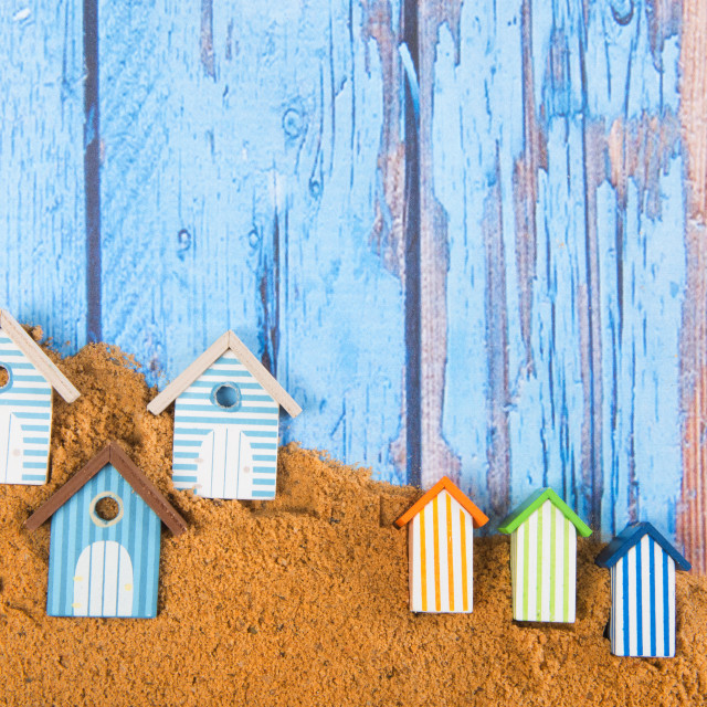 """""""Beach huts in sand"""" stock image"""